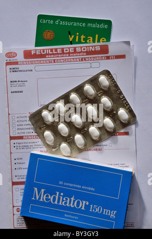french security social card and Mediator drug on french security social form - Stock Photo