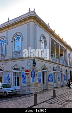 House with panels of Azulejos, blue tiles, in Funchal, Madeira - Stock Photo