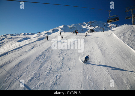 Skiing on the hill at Zillertal Arena, Austria, Europe - Stock Photo