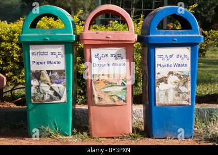 Recyclable waste bins in India - Stock Photo