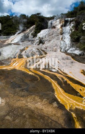fantastic sinter terraces in Orakei Korako, the hidden valley in New Zealand's volcanic area - Stock Photo