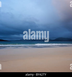 Dark clouds of approaching storm over Luskentyre beach, Isle of Harris, Outer Hebrides, Scotland - Stock Photo