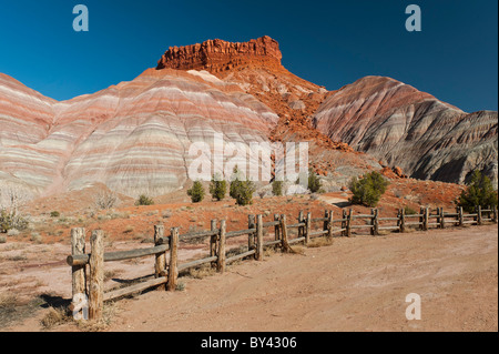 Kanab, Utah: Multi colored cliffs surround the historic Pahreah townsite in the Grand Staircase-Escalante National - Stock Photo