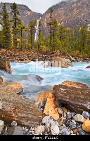 Yoho River and Takakkaw Falls in the distance. Yoho National Park, British Columbia, Canada. - Stock Photo