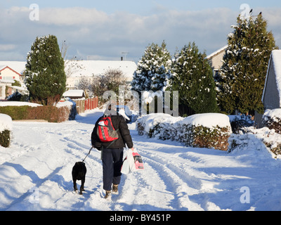 Man and dog walking through snow along a suburban street in winter 2010. UK Britain - Stock Photo