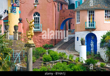 Village of Portmeirion, Gwynedd, North Wales, UK - Stock Photo