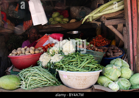 different  types of  vegetables displayed from a vegetable shop - Stock Photo