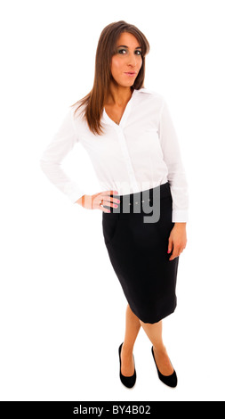 Business Woman in black skirt and white blouse - Stock Photo
