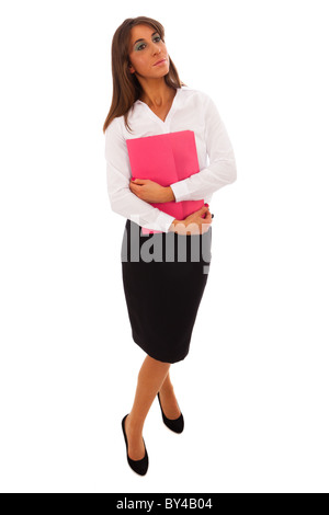 Business Woman in black skirt and white blouse carrying a pink folder - Stock Photo