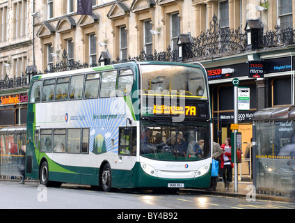Stagecoach electric hybrid bus in Magdalen Street, Oxford, UK - Stock Photo