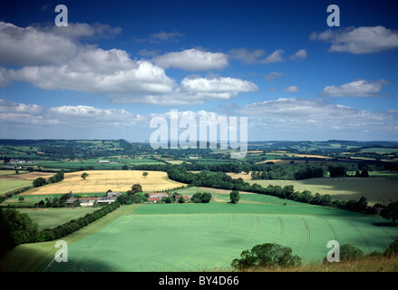 A view looking north-west towards the head of the Nadder Valley from Win Green Hill in Wiltshire, England, UK. - Stock Photo