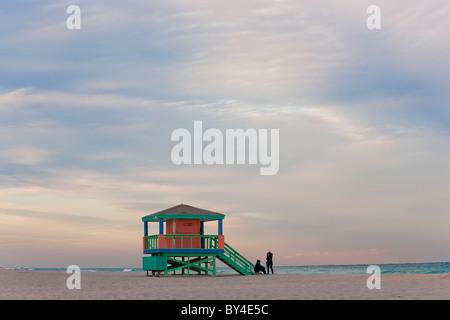 Lifeguard Hut, early morning, South Beach, Miami, Florida, USA - Stock Photo