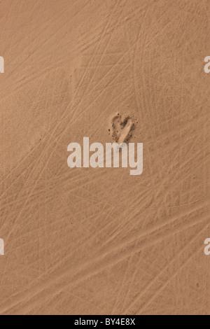 Heart in desert, Namibia, Namib Desert, aerial view - Stock Photo