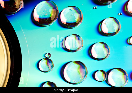 watter drops on dvd media - Stock Photo