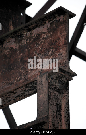 A corner section and the join of two steel girders; which are part of a ceiling construction - Stock Photo