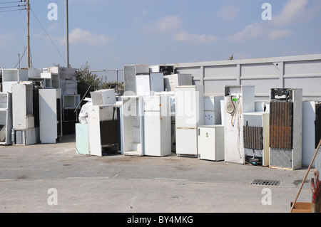 A section in a civic amenity site where used fridges and electrical appliances are disposed for recycling. - Stock Photo