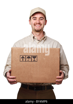 smiling delivery man holding a big parcel isolated on white - Stock Photo