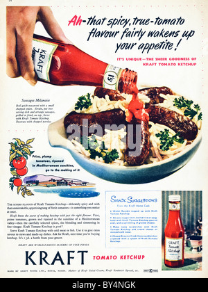 1950s full page colour advertisement for Kraft tomato ketchup - Stock Photo