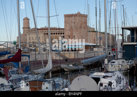 Vieux Port of Marseille,Fort St. Jean - Stock Photo