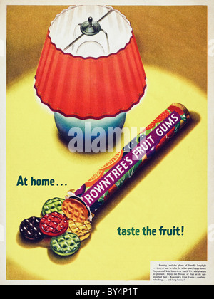 1950s full page colour advertisement for Rowntree's fruit gums - Stock Photo