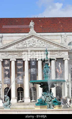 Teatro Nacional Dona Maria II, Rossio (Praca de Dom Pedro IV), Lisbon, Portugal - Stock Photo