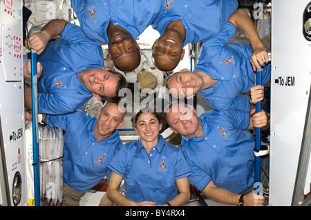 Space shuttle astronauts in zero gravity training. L-R ...