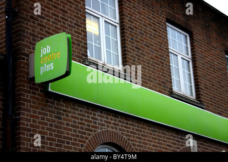 A job centre plus brick building showing their brand and logo on the front of the branch. - Stock Photo