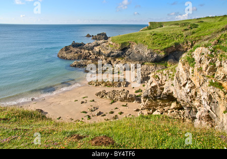 a small sandy cove near Broad Haven South in Pembrokeshire - Stock Photo