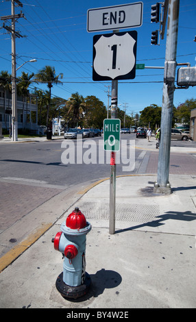 US 1 mile marker 0 in Whitehead Street, Key West, Florida, USA - Stock Photo