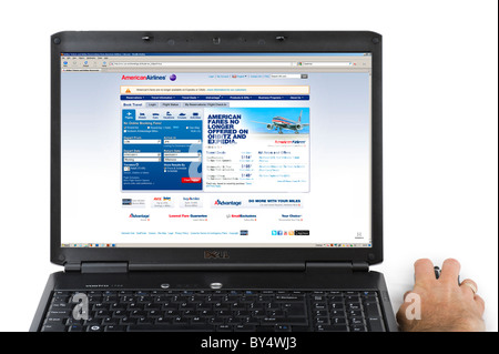 Booking a flight on the American Airlines website, USA - Stock Photo