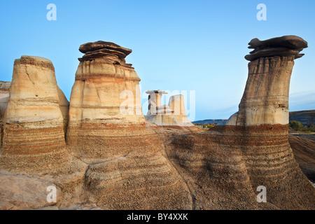 Hoodoos, rock formations in the Alberta Badlands, Drumheller, Alberta, Canada. - Stock Photo