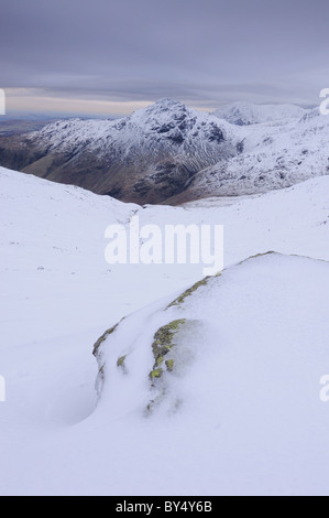 Winter view towards Pike O Blisco from The Band on Bowfell in the English Lake District