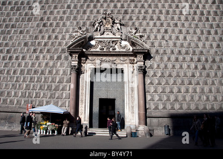Main door of the The Church of Gesù Nuovo, Naples in the Spaccanapoli (street) area - Stock Photo
