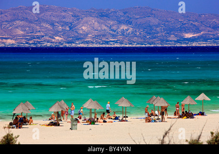 This is Chrissi  island, a small exotic island, a tiny paradise, 8 miles south of  Ierapetra, Lasithi, Crete, Greece - Stock Photo