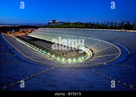 The Panathenaic (or 'Panathinaiko') stadium, also known as 'Kallimarmaro', in the 'blue' hour. Athens, Greece - Stock Photo
