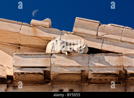 Head of a horse of Selene, on the east pediment of the Parthenon, Acropolis Athens, Greece - Stock Photo