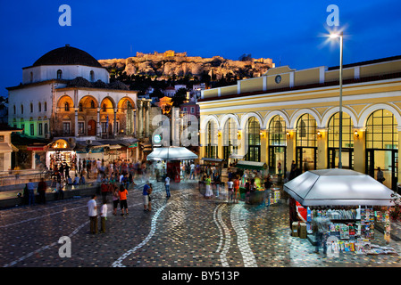 Monastiraki square in the 'blue' hour, with Acropolis in the background. Athens, Greece - Stock Photo