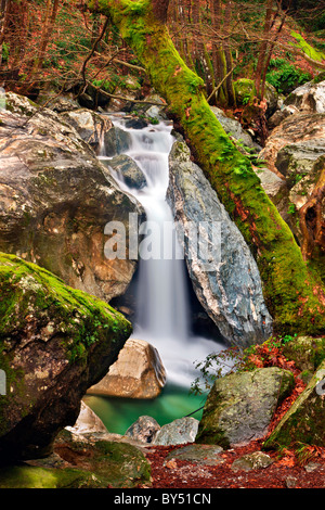 A small waterfall in Mega Rema , very close to the beautiful village of Mouresi on the eastern side of Pelion mountain, - Stock Photo