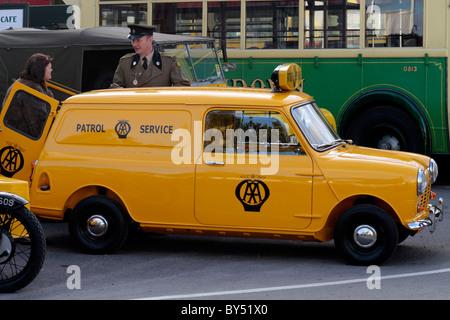 Yellow 1960's AA Patrol Service Mini Van - Stock Photo