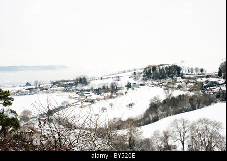 View along valley from Ruscombe with winter snow, near Stroud, Gloucestershire, England, United Kingdom - Stock Photo