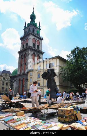 Second hand book market, Lviv, Ukraine - Stock Photo