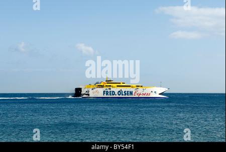 El Hierro, Canary Islands. Fred Olsen line ferry Bonanza Express entering Puerto de la Estaca from Los Cristianos, - Stock Photo