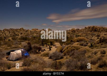 Camping in Jumbo Rocks campground at Joshua Tree National Park, California, USA. - Stock Photo