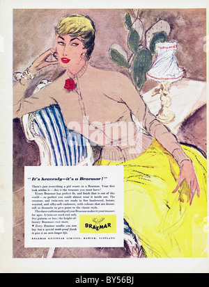 1950s full page colour advertisement in women's fashion magazine for Braemar Knitwear - Stock Photo