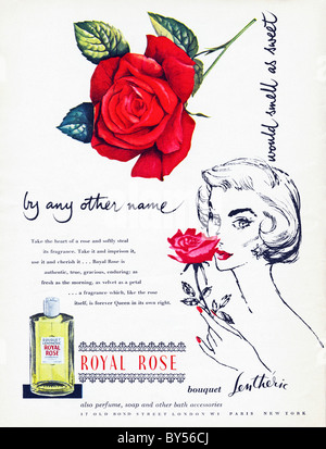 1950s full page colour advertisement in women's fashion magazine for Lentheric Royal Rose perfume - Stock Photo