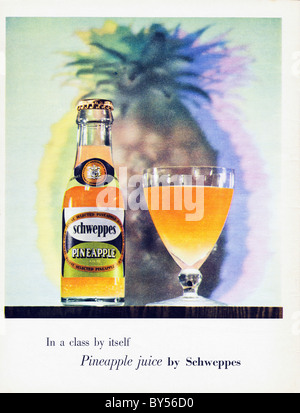 1950s full page colour advertisement in women's fashion magazine for Pineapple Juice by Schweppes - Stock Photo