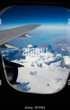 View from an airplane in flight - Stock Photo