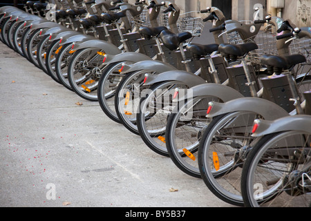 Velib bicycles in Paris, France - Stock Photo