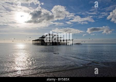 West Pier Brighton, East Sussex, England - Stock Photo