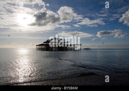 West Pier Brighton, East Sussex, England - Stock Photo